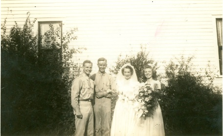 Mom and Dad's wedding day: l-r, Jimmy Wingate, best man, Dad, Mom, Mary Beavers, maid of honor